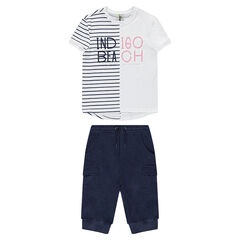 Junior - Ensemble with a tee-shirt featuring placed stripes and bermuda shorts with pockets