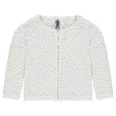 Zipped popcorn knit cardigan