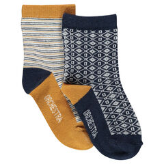 Set of 2 pairs of assorted socks: with motif/striped