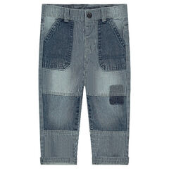 Used-effect striped unlined jeans