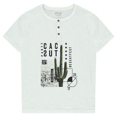 Short-sleeved jersey tee-shirt with a cactus print