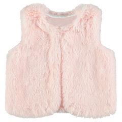 Satin-lined sleeveless sherpa cardigan