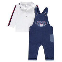 Ensemble with a plain-colored polo shirt and denim-effect overalls with an embroidered monkey