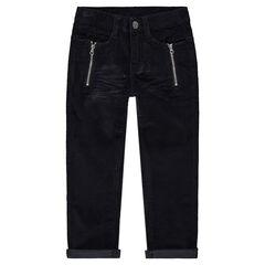 Pantalon en velours avec clous fantaisie, zips et effet crinkle