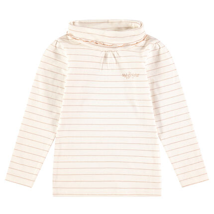 Lightweight roll neck sweater with sparkly coppery stripes