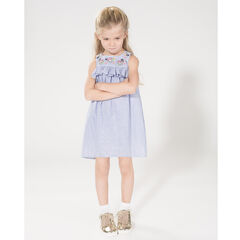 Sleeveless dress with frill and embroidered flowers in front