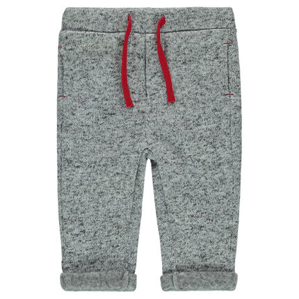 Heathered polar fleece pants with contrasting drawstrings