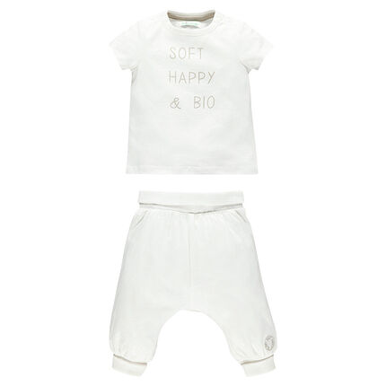 Set with short sleeve t-shirt and organic cotton trousers