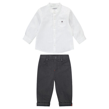 Ensemble with a white shirt and pants in cotton
