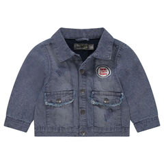 Used-effect denim jacket with a badge patch
