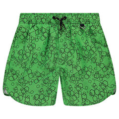 Junior - Long swim shorts with geometric pattern