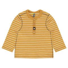Long-sleeved tee-shirt with allover stripes and Tunisian collar