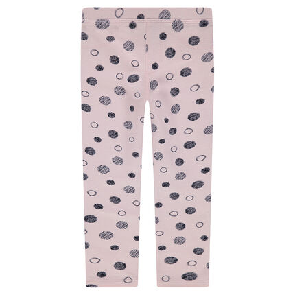 Jersey leggings with allover polka dots