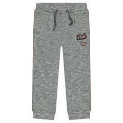 Heathered fleece sweatpants with badge patches
