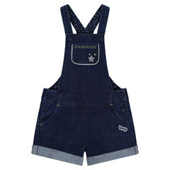 Short denim overalls with a star in silvery sequins
