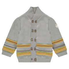 Knit cardigan with jacquard motifs and a lion badge