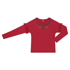 Junior - Tee-shirt with fringes and geometric motifs