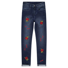 Junior - Slim fit jeans with rose patches