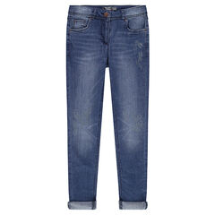 Junior - Faded-effect slim fit jeans with prints