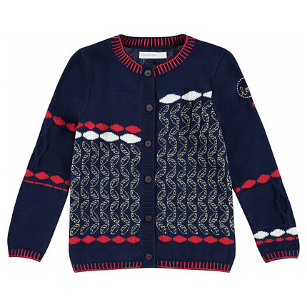 Knit cardigan with jacquard motifs and golden hints