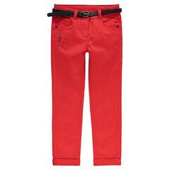 Plain-colored slim-fit cotton satin pants with removable faux leather belt.