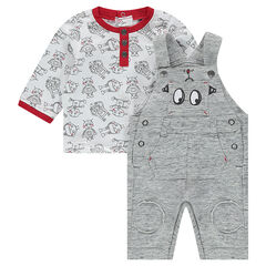 Long-sleeved tee-shirt with printed robots and fleece overalls