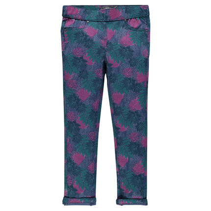Long, fleece jeggings with floral print