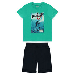 Ensemble with dinosaur print tee-shirt and plain-colored Bermudas