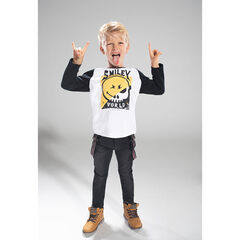 Tee-shirt with long raglan sleeves with ©Smiley print and badges