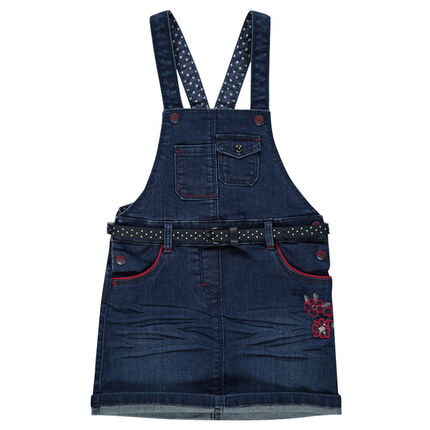 Denim overalls dress with embroidered flowers and polka dot belt