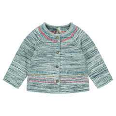 Cardigan in heathered thread with embroidery