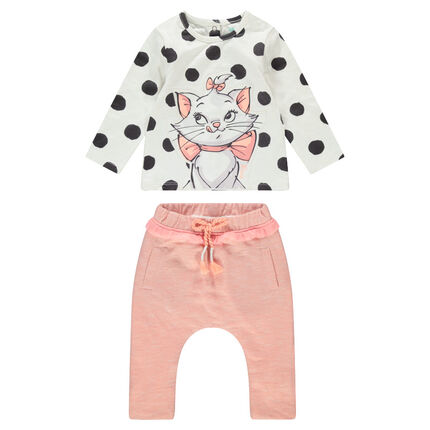 Ensemble with a polka-dotted tee-shirt featuring ©Disney Aristocats Marie and heathered pants