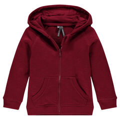 Zipped, slub fleece hooded jacket