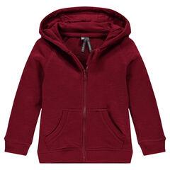 Zipped, slub fleece hooded jacket
