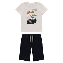Set with printed t-shirt and fleece Bermuda shorts