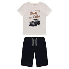 Set with printed t-shirt and fleece Bermuda shorts