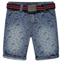 Denim bermuda shorts with allover print and removable belt
