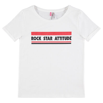 Junior - Short-sleeved jersey tee-shirt with a printed message