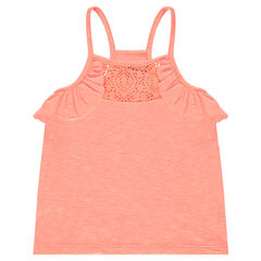Slub jersey tank top with lace and frilled armholes