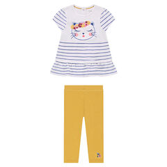 Ensemble with a striped tunic and plain-colored printed leggings