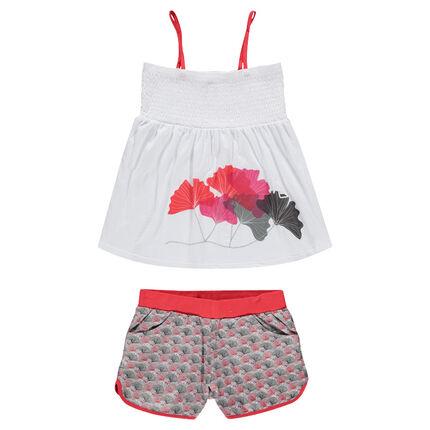 Tank top and shorts beach ensemble