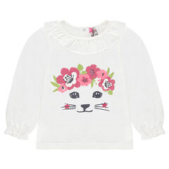 Long-sleeved knit-effect tee-shirt with a sparkly cat print