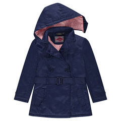Junior - Sparkly trench coat with a striped lining and a removable hood