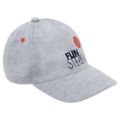 Jersey cap with print and badge