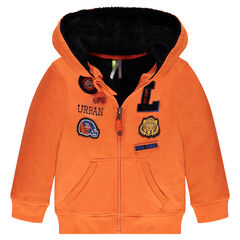 Fleece jacket with sherpa lining and badges