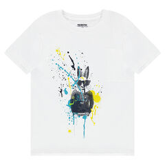Junior - Short-sleeved jersey tee-shirt with a rabbit and stain-effect prints