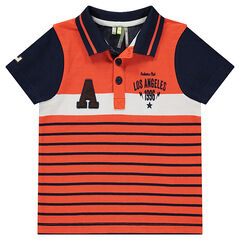 Short-sleeved striped polo shirt with terry loop knit letter