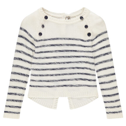 Sailor-style knit sweater with trendy back
