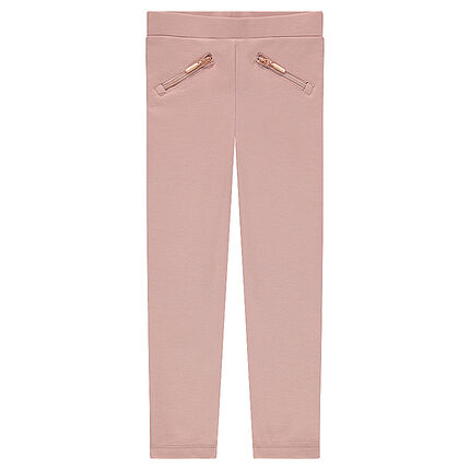 Plain-colored milano jeggings with zipped pockets and bands on the sides