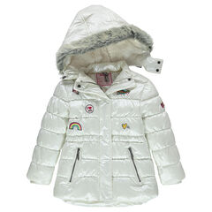 Sherpa-lined quilted and padded coat with embroidered badges